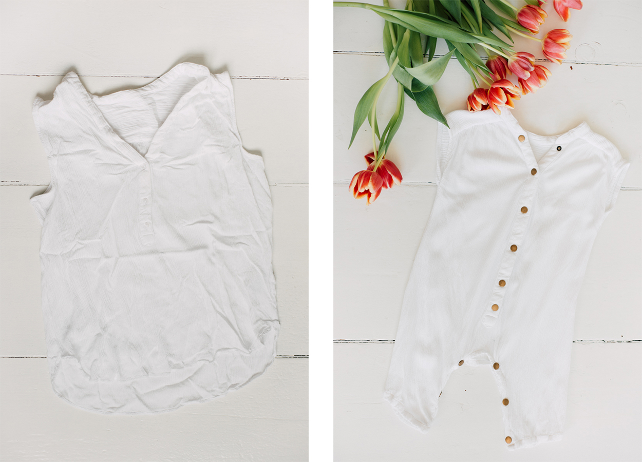 Upcycling aus Bluse Romper nähen